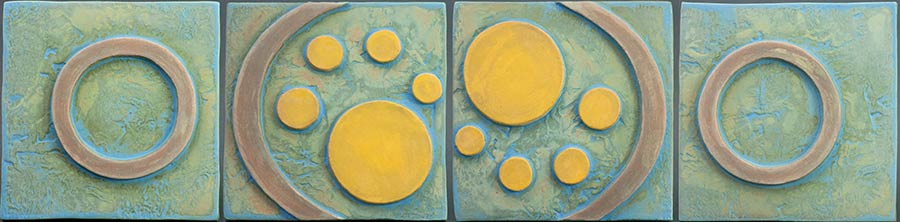 """Four Panel Green with Yellow Circles"" - ceramic mural by Gregory Fields"