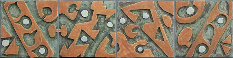 """Four Panel Green and Brown"" - ceramic mural by Gregory Fields"