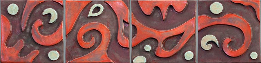"""Four Panel Orange""- ceramic mural by Gregory Fields"