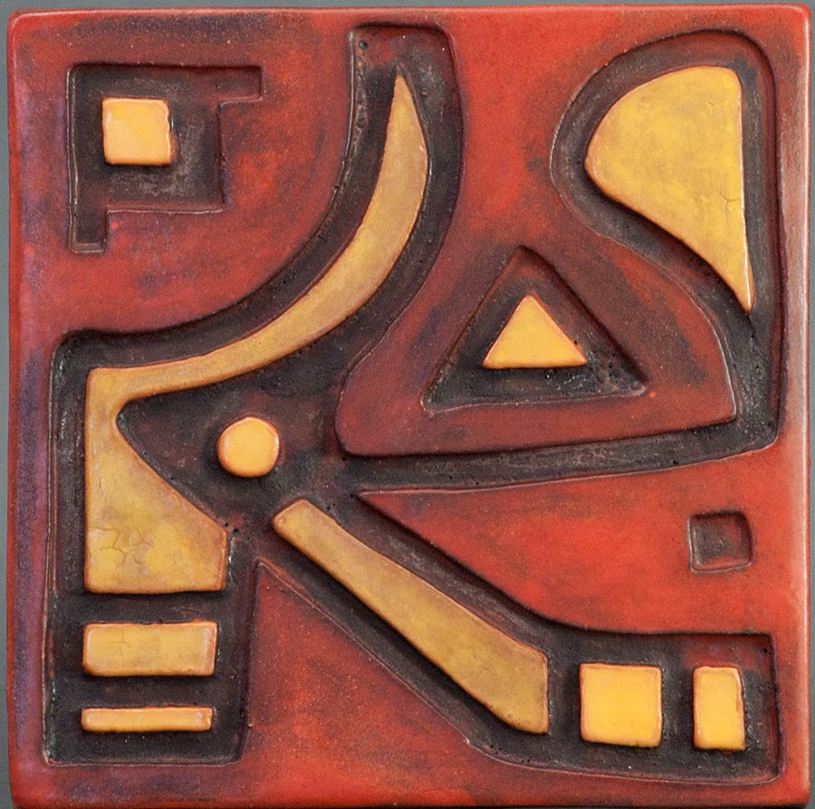 """Abstract Red and Yellow"" - ceramic tile by Gregory Fields"