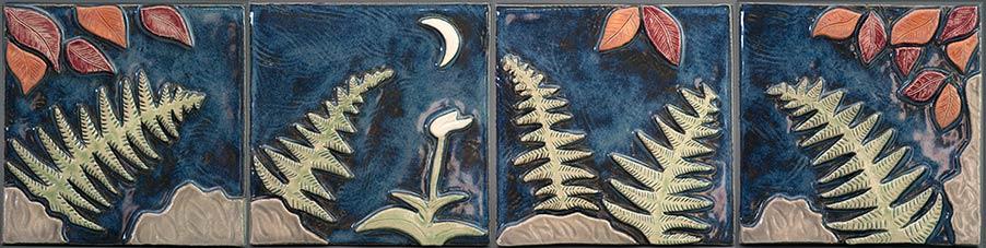 """Moonlight Ferns"" - ceramic mural by Gregory Fields"