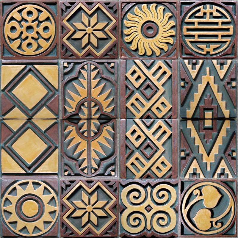 """Convergence"" - public art by Gregory Fields - pillar tile designs"