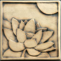 Lotus Tile - rubbed black glaze