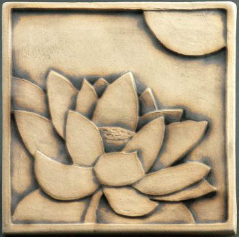 Lotus Tile - rubbed black glaze