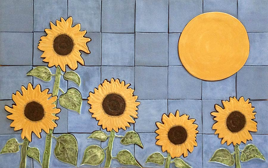 """Sunflowers"" - ceramic mural by Gregory Fields Mural"