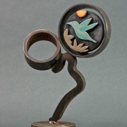 Blue Hummingbird - Steel & ceramic sculpture