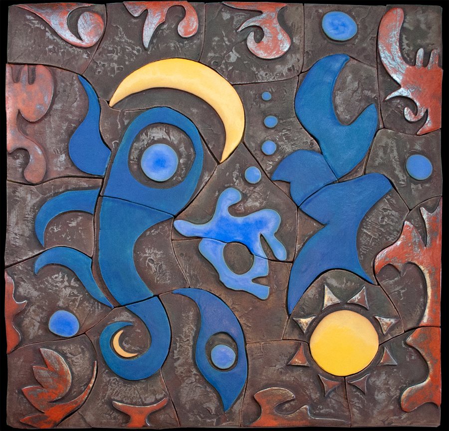 """Dancing with the Sun and Moon"" - ceramic mural by Gregory Fields"
