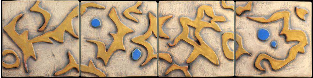 """Blue Dot Dance"" - ceramic mural by Gregory Fields"