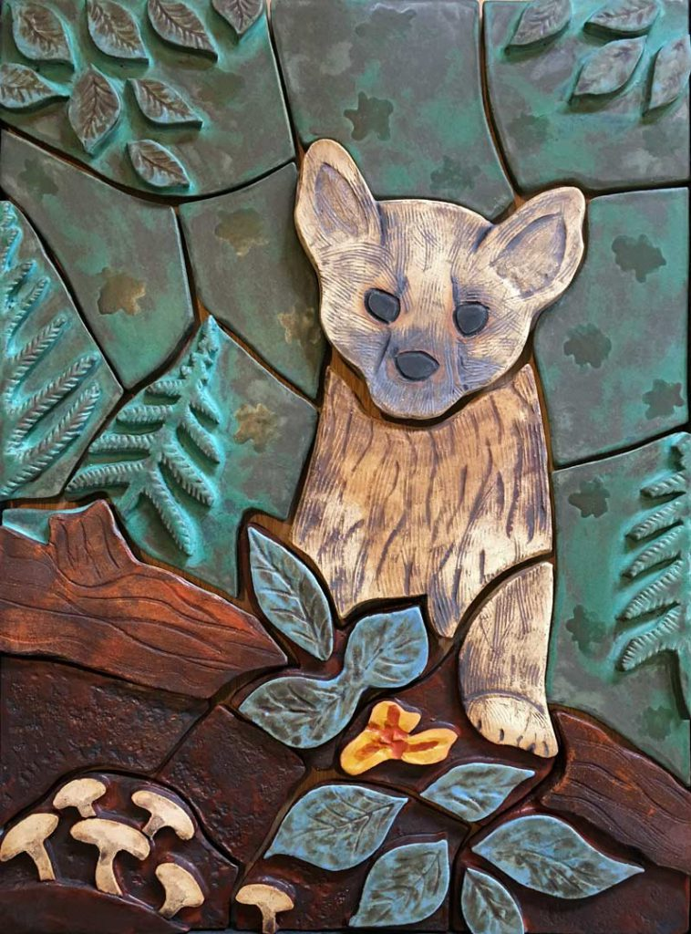 """American Pine Marten"" - wall sculpture by Greogry Fields"