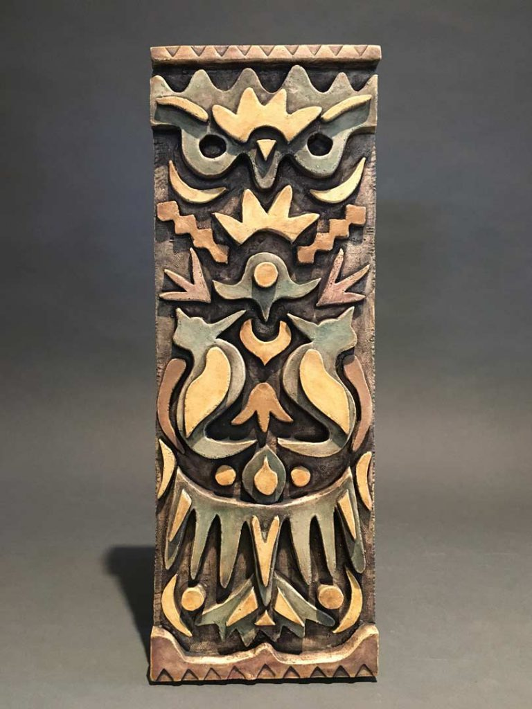 """Owl and Birds"" - ceramic wall hanging by Gregory Fields"