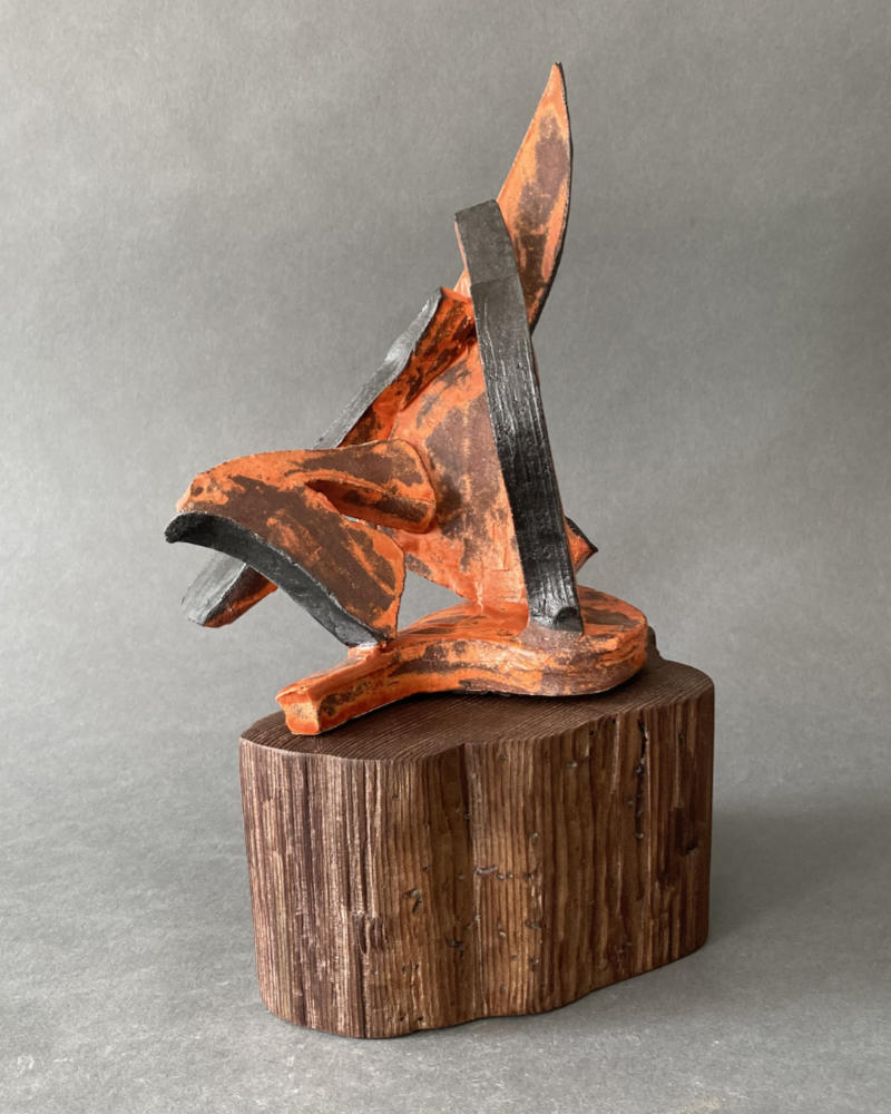 Abstract in Orange and Black - a sculpture by Gregory Fields