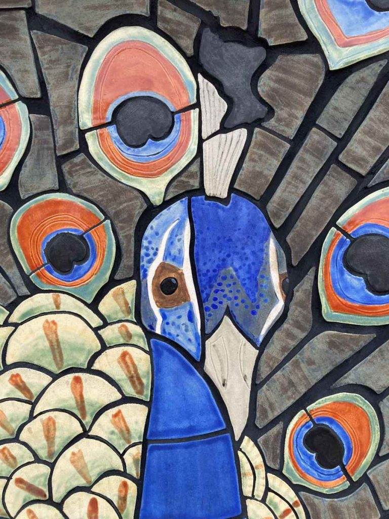 """""""Peacock"""" - detail of a ceramic mural by Gregory Fields"""