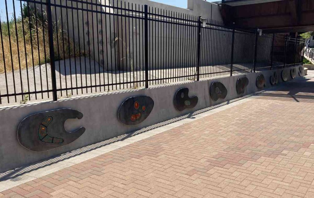 """The south wall of the underpass spelling """"Colorado US"""""""