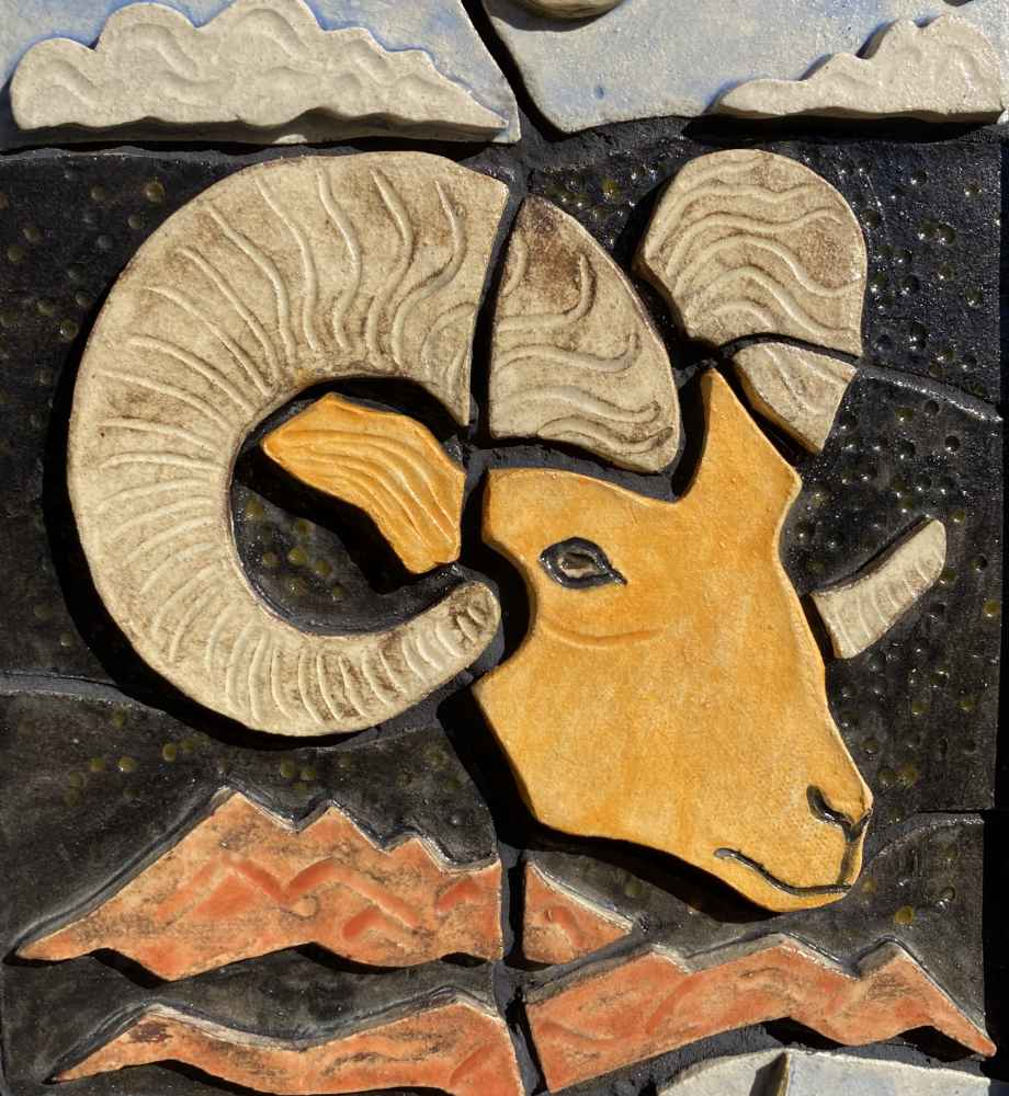 """Big Horn Sheep detail of """"Wild Ones"""" - a sculpture by Gregory Fields"""